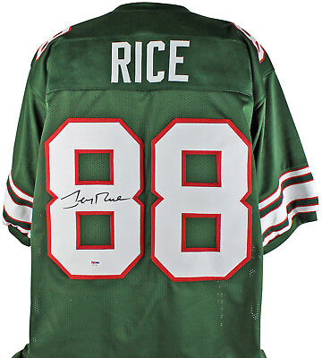 Mississippi Valley State Jerry Rice Authentic Signed Green Jersey PSA/DNA ITP
