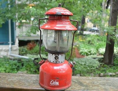 Vintage Coleman 200 Single Mantle Red Lantern Camping Hunting Outdoor Trip Gas