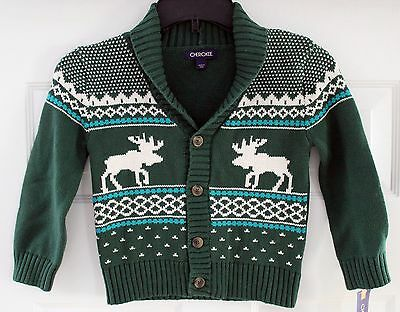 NEW Cherokee Boy's Green Christmas 100% Cotton Cardigan Sweater Size 4T