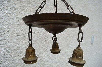 Vtg Gothic Art Deco Brass Chandelier Ceiling Fixture Modern Castle Old Light