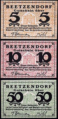 BEETZENDORF 1921 complete set small circulating Notgeld Germany