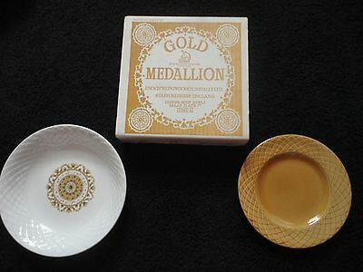 Vintage New In Box Gold Medallion Enochwedgwood Tuntall Bowl And Plate Set