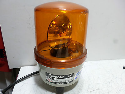 SUNBEAM ROTATING AMBER BEACON -- RA-220 -- 240AC supply 12V Globe