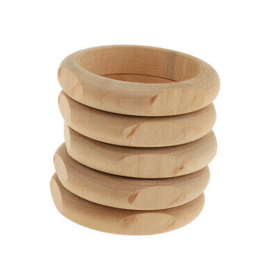 5 Unpainted Natural Wooden Bangles Jewellery Supplies Plain Wood Wristband