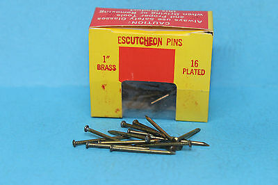 """Lot of 100 TOWER BRASS ESCUTCHEON PINS NAILS 1"""" Long x #16 Gauge - Made in USA"""