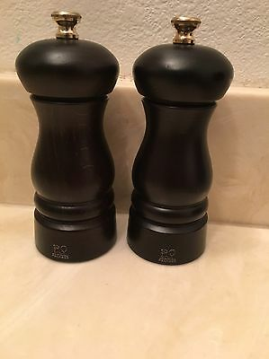"""New Peugeot Freres 5"""" Wooden Chocolate Salt And Pepper Set"""