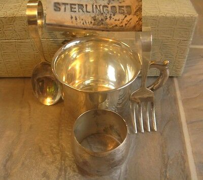 Antique Japanese Sterling 950 Silver Baby Cup Spoon Fork Napkin Ring Set W Box