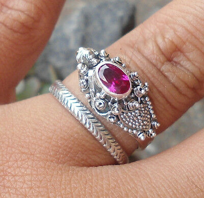 925 Sterling Silver Balinese Dragon Ring Free Size With Ruby Cut-LH01