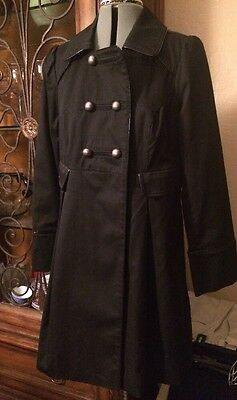 Liz Lange MATERNITY Target black double breasted trench coat jacket size Small