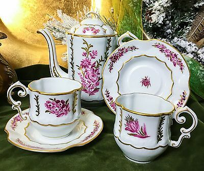 """""""Raspberry and Chocolate """"  Porcelain Chocolate Pot with Two Demitasse Set"""