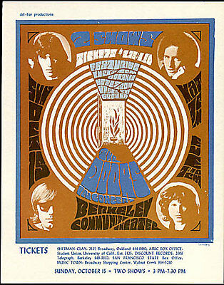 The Doors Rare 10/15/1967 Berkeley Community Theater Photo Handbill Jim Morrison