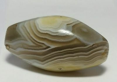 ANCIENT LARGE BANDED WESTERN ASIAN AGATE EYE BEAD (32.3mm x 17.3mm)