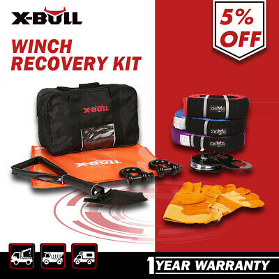 X-BULL  Winch Recovery Kit Snatch Strap Pulley Block Bow Shackles Shovel 4WD 11P