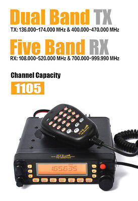 50W Dual Band VHF UHF Cable Car/Truck Ham Mobile Radio 1105CH Programmable Scan