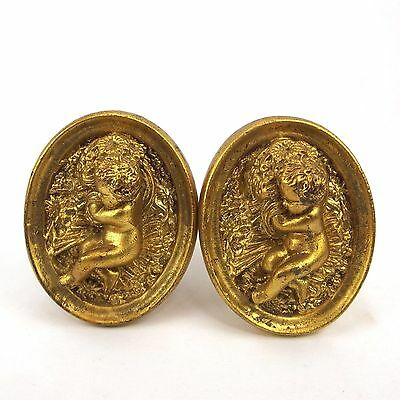 Pair Victorian Gold Gilt Wood Cherub Sleeping on Flowers Curtain Tie Backs