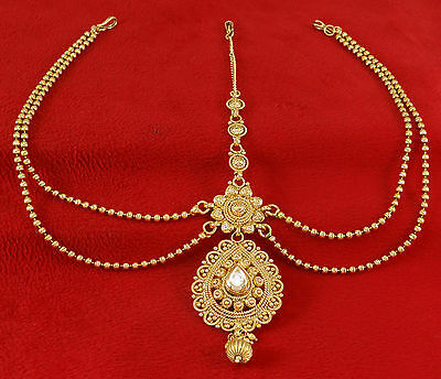 Goldtone Indian Women Party Matha Patti Bollywood Traditional Bridal Jewelry