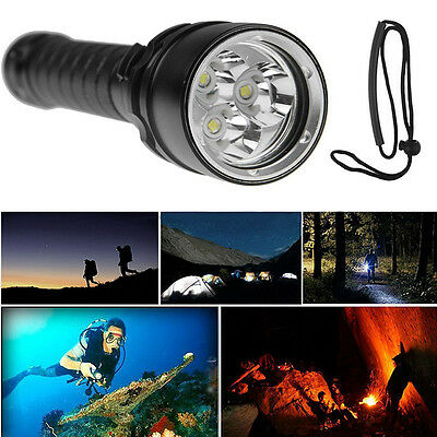 8000LM 3x T6 LED Linterna Buceo Submarina Waterproof Flashlight Torch Diving