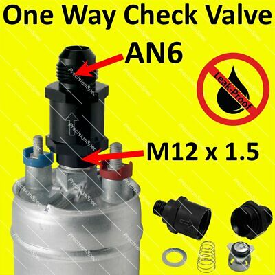 M12x1.5 to AN6 6AN One Way Check Valve For Bosch 044 Fuel Pump Outlet - Black