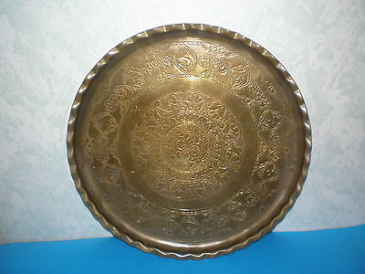 Antique Islamic/Persian hand made engraved ornate brass tray early 20th century
