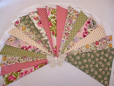 5 Metres of Double Sided Handmade Vintage Floral Fabric Bunting Quality Cottons