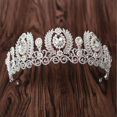 5.5cm High Large Silver Crystal Tiara Crown Adult Wedding Party Pageant Prom