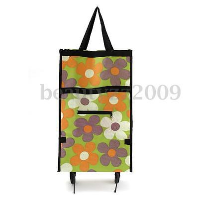 New Foldable Rolling Cart Shopping Bag Trolley Travel Wheels Tote Wheeled Bags