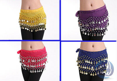 Belly Dancing Skirt Chiffon Hip Scarf Wrap Belt Gold 128 Coins