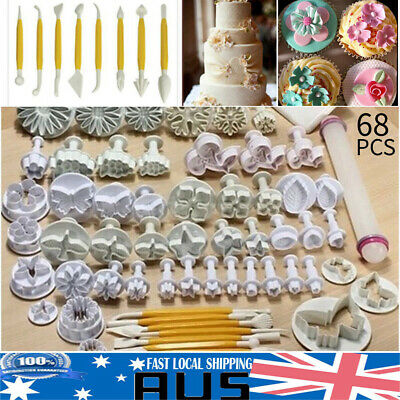 68pcs Fondant Sugarcraft Cake Decorating Icing Plunger Cutters Baking Tool Mold