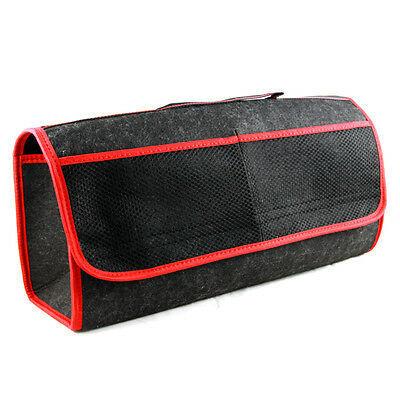 Car Care Protection Tidy Organiser Red Trim Storage Boot Bag with Pockets