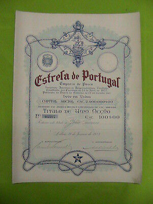 Star Portugal Fishing company - one certified share 1923