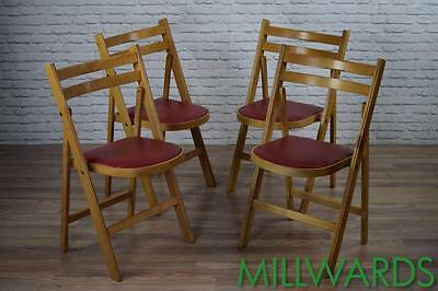 Vintage Industrial Wooden Folding Cafe Bar Chairs With Red Vinyl Seats (Lot 1)