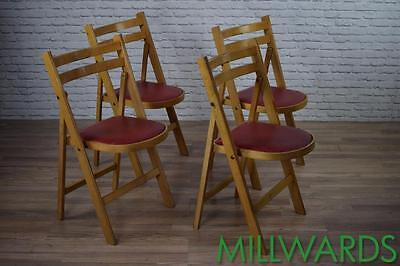 Vintage Industrial Wooden Folding Cafe Bar Chairs With Red Vinyl Seats (Lot 2)