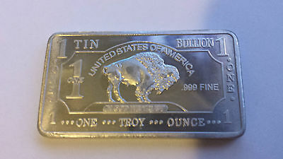 ONE 1 OZ Buffalo 99.9% Pure Tin Bullion Art Bar Ingot