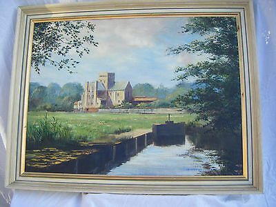 Large Vintage Framed Oil Painting -St.Cross Priory, Isle of Wight-LD Carmichael