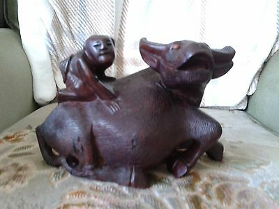 Beautiful Vintage Chinese Wooden Waterbuffalo Figurine With Child On His Back