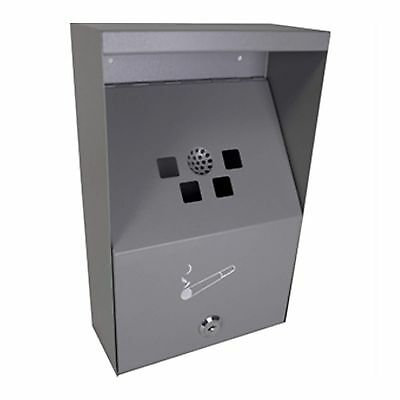 Sunnex Wall Mounted Cigarette Bin Ashtray In Grey With Wall Fittings NEW