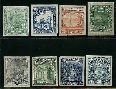 El Salvador 1896 Issue -- Rare -- Plate Proofs (8) Different Bt4498