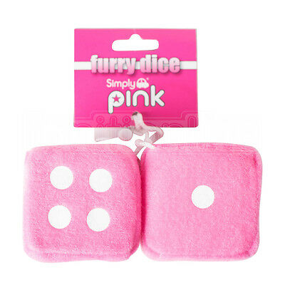 Car Pink & White Soft Spotty Furry Fluffy Hanging Mirror Dice Set Of 2