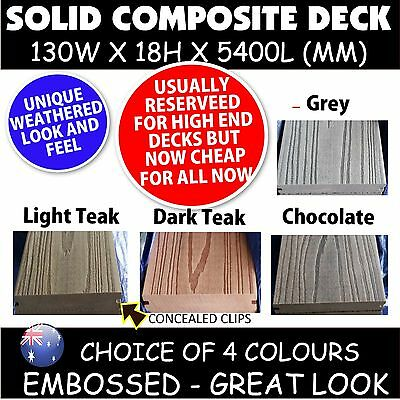 COMPOSITE EMBOSSED DECKING SOLID - 4 colours - 5400x130x18mm *Like modwood DECK