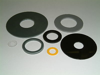 10 Plastic (PVC) Washers-I/D's from 5mm up to 19.7mm, 7 different sizes