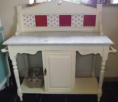 Vintage Shabby Chic Wash Stand, Marble Top, Tiled Back