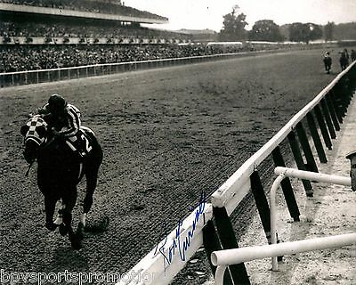 Secretariat signed Ron Turcotte Belmont Stakes at wire 8X10 TRIPLE CROWN 1973