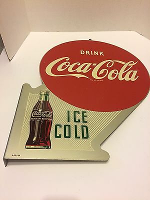 """Original 1950's """"Drink COCA-COLA Ice Cold"""" Doubled Sided Metal Flange Sign"""