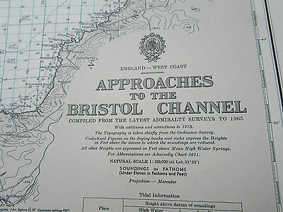"""1977 Approaches to The BRISTOL CHANNEL Wales Lundy Cornwall MAP Chart 28"""" x 41"""""""