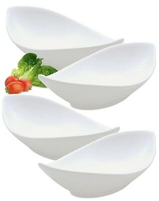 Set Of 4 Pure White Oval Twist Porcelain Salad Rice Starter Pasta Bowls 24cm 9""