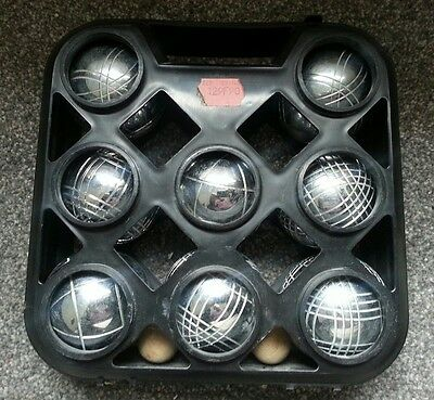 french boules set 8 steel  balls & 2 wooden jacks in case
