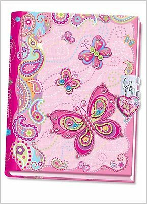 Pecoware Butterfly Girls Kids Diary Notebook with Lock Free Shipping