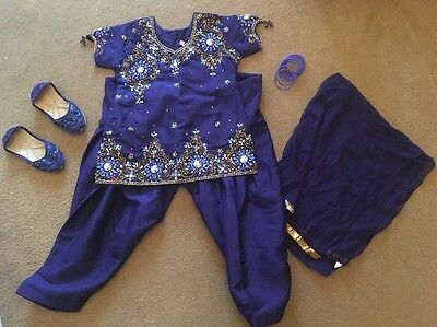 Girls Age 2 Asian Outfit Dress Shoes Eid Christmas Blue BeadedParties