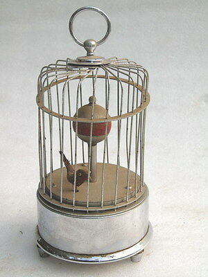 Antique Vintage Caged Bird Shelf Mantle Deco Wind Clock Made In Occupied Japan