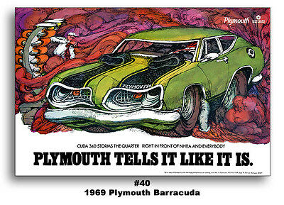 13x19 1969 PLYMOUTH BARRACUDA CUDA 340 AD BROCHURE TELLS IT LIKE IT IS POSTER